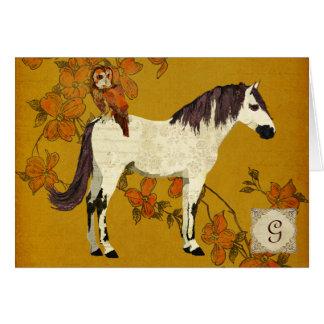 Violet Horse & Owl Monogram Notecard Card