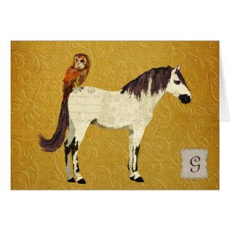 Violet Horse & Owl Monogram Notecard Greeting Card