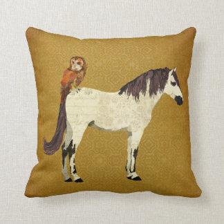 Violet Horse Owl Pillow