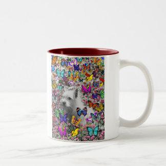 Violet in Butterflies – White Westie Dog Mug