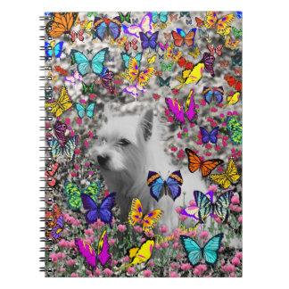Violet in Butterflies – White Westie Dog Spiral Notebook