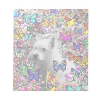 Violet in Butterflies – White Westie Dog Scratch Pads