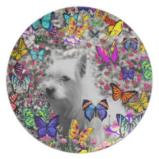 Violet in Butterflies – White Westie Dog Plate