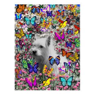 Violet in Butterflies – White Westie Dog Postcard