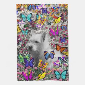 Violet in Butterflies – White Westie Dog Hand Towel