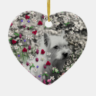 Violet in Flowers – White Westie Dog Christmas Ornament