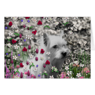 Violet in Flowers – White Westie Dog Greeting Card