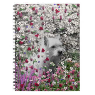 Violet in Flowers – White Westie Dog Note Book