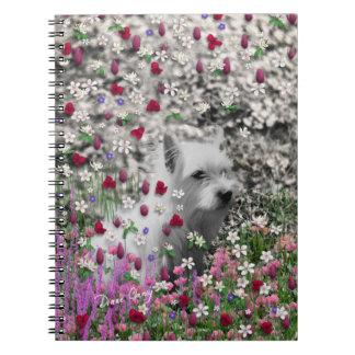 Violet in Flowers – White Westie Dog Spiral Notebooks