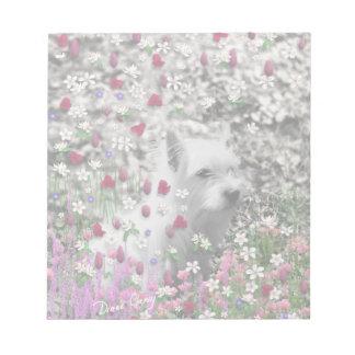 Violet in Flowers – White Westie Dog Notepad