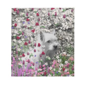 Violet in Flowers – White Westie Dog Scratch Pad
