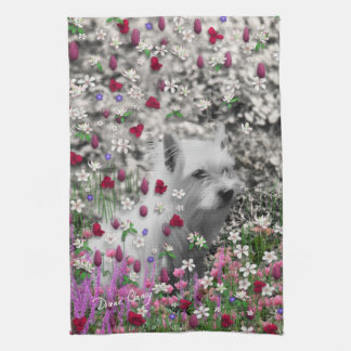 Violet in Flowers – White Westie Dog Towels