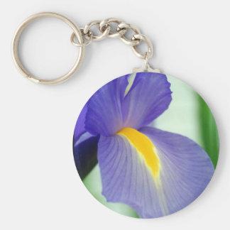 violet iris basic round button key ring