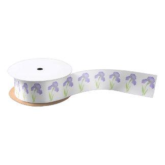 Violet Iris Pattern Satin Ribbon