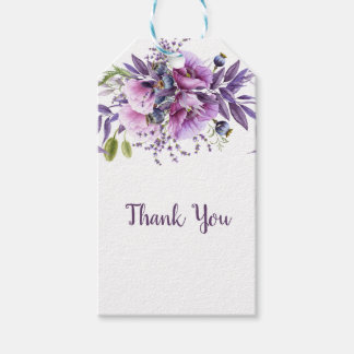 Violet Lavender Purple Floral Thank You | Gift Tags