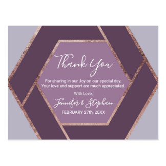 Violet Lilac Purple Rose Gold Hexagon Thank You Postcard