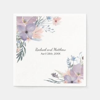 Violet Meadow Floral Wildflowers Wedding Disposable Napkin