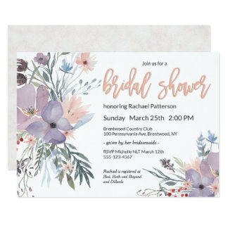 Violet Meadow Watercolor Floral Bridal Shower Card