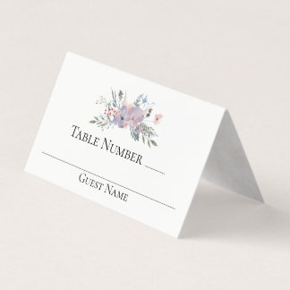 Violet Meadow Watercolor Floral Wedding Table Place Card