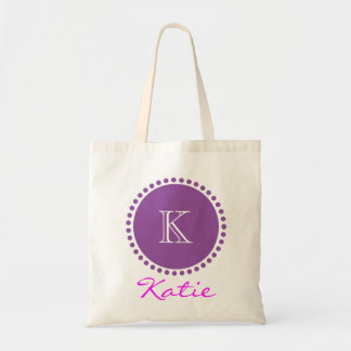 Violet Monogram Personalized Design Tote Bag