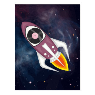 Violet Musical rocket in outer space Postcard