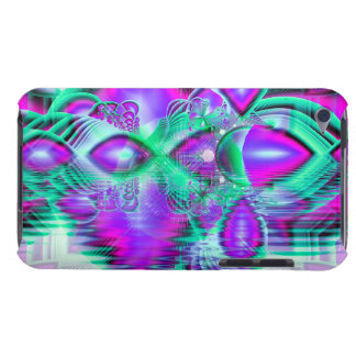 Violet Peacock Feathers, Abstract Crystal Mint Barely There iPod Covers