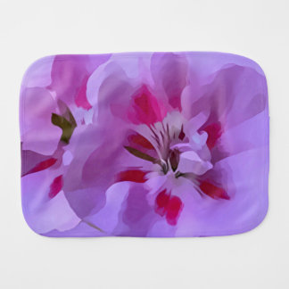 Violet Pink Abstract Hibiscus Flower Baby Burp Cloths