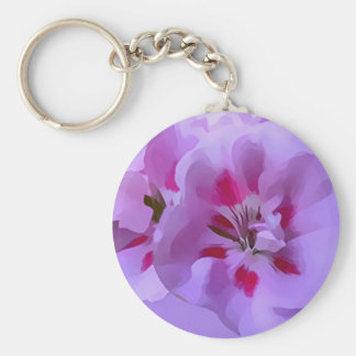 Violet Pink Abstract Hibiscus Flower Key Ring