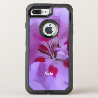 Violet Pink Abstract Hibiscus Flower Personalized OtterBox Defender iPhone 8 Plus/7 Plus Case
