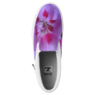 Violet Pink Abstract Hibiscus Flower Slip On Shoes