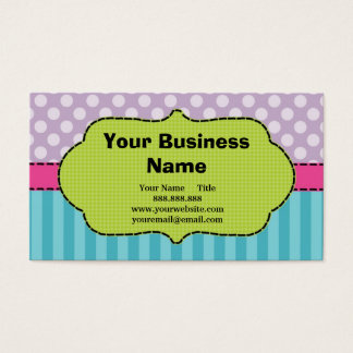 Violet, Pink, Blue, Polka Dots and Stripes. Business Card