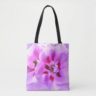 Violet Pink Watercolor Hibiscus Tote Bag