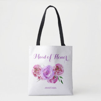 Violet plum watercolor bouquet maid of honor tote bag