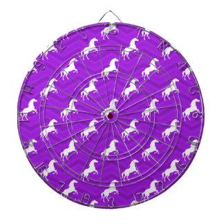 Violet Purple and White Horse Chevron Pattern Dartboard With Darts