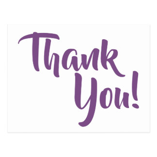 Violet Purple Calligraphy Thank You Postcard