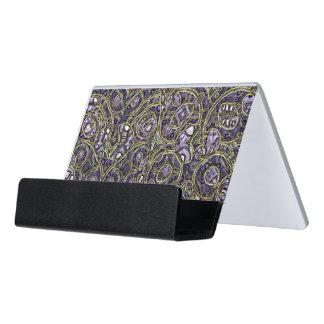 Violet Purple Faux Gold Victorian Swirls Pattern Desk Business Card Holder
