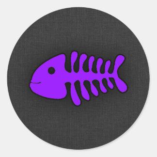 Violet Purple Fish Bones Stickers
