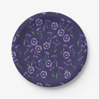 Violet Purple Flower 7 Inch Paper Plate