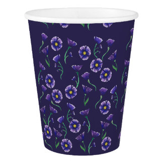 Violet Purple Flower Paper Cup