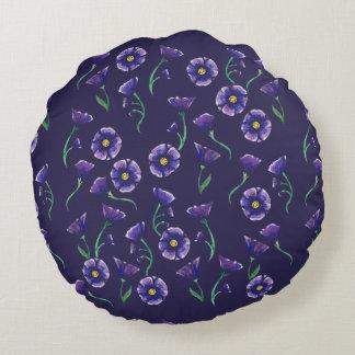 Violet Purple Flower Round Cushion