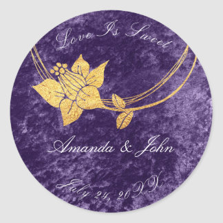 Violet Purple Flower Save the Date Love Sweet Classic Round Sticker