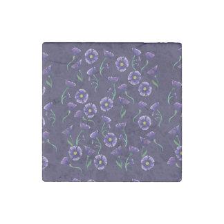 Violet Purple Flower Stone Magnet
