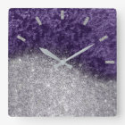 Violet Purple Glitter Silver Grey Velvet Eggplant Square Wall Clock