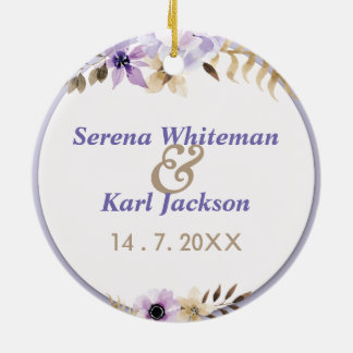 Violet Purple hand drawn floral frame Ceramic Ornament