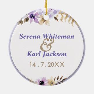 Violet Purple hand drawn floral frame Round Ceramic Decoration