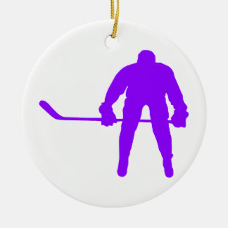 Violet Purple Ice Hockey Ceramic Ornament