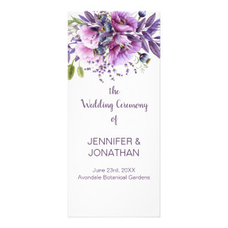 Violet Purple Lavender Flowers Wedding Program Rack Card
