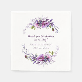 Violet Purple Lavender Wildflowers Reception   Paper Napkin