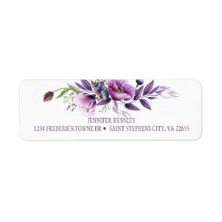 Violet Purple Lavender Wildflowers Return Address| Return Address Label