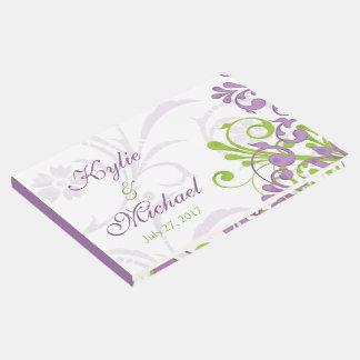 Violet Purple Lime Green Floral Wedding Guest Book